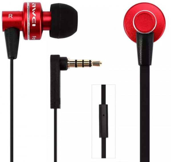AWEI ES900i Wired Earphones Red - фото