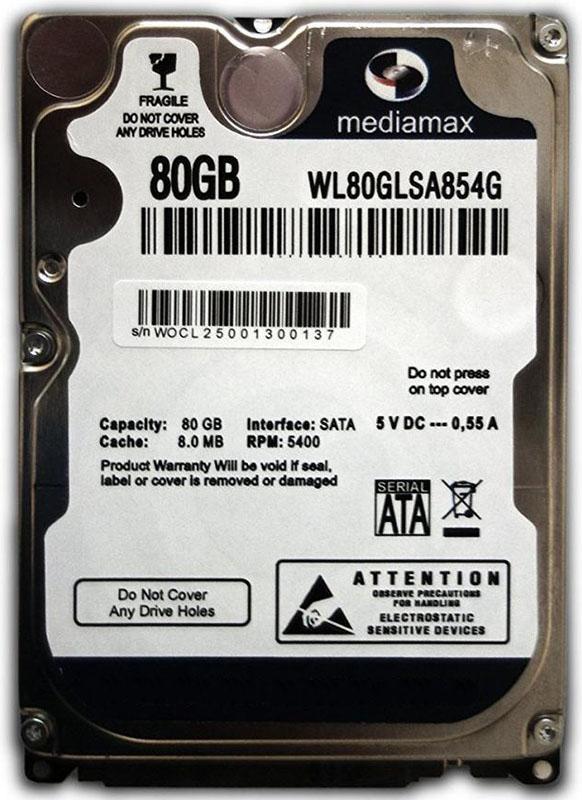 Жесткие диски, Mediamax 2.5 HDD 80 GB SATA (WL80GLSA854G)  - купить со скидкой