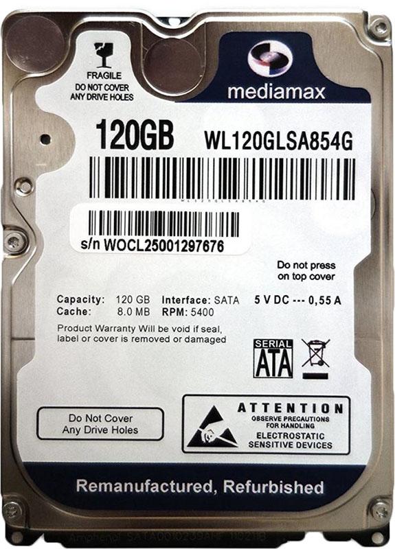 Купить Жесткие диски, Mediamax 2.5 HDD 120 GB SATA (WL120GLSA854G)