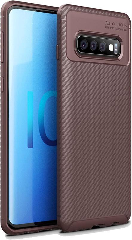 Купить Чехлы для телефонов, TOTO TPU Carbon Fiber 1, 5mm Case Samsung Galaxy S10 Coffee