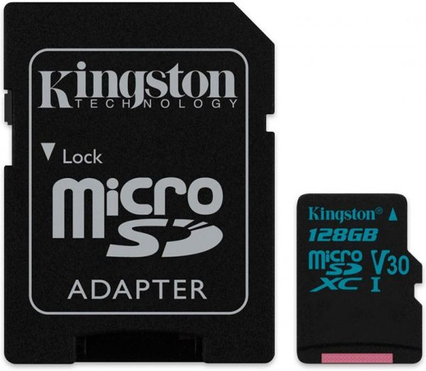 Kingston microSDHC/SDXC UHS-I U3 Class 10 Canvas Go SD-адаптер 128Gb