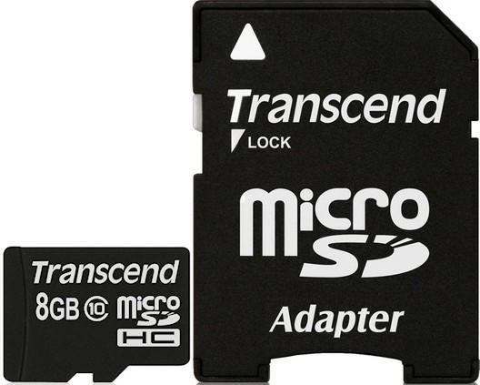 Карта памяти Transcend microSDXC/SDHC Class 10 SD adapter 8Gb - Фото 1