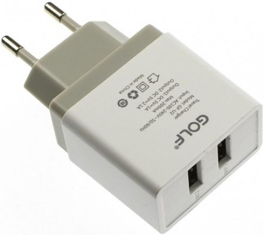 Сетевое зарядное устройство GOLF GF-U2 Travel charger 2USB 2,1A White - Фото 1