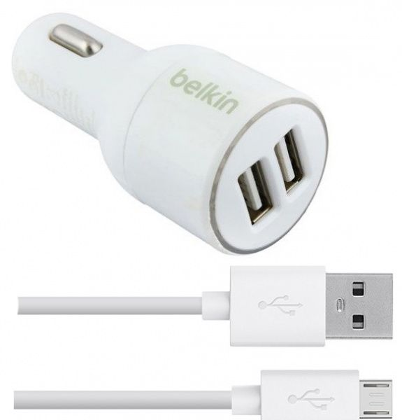 Belkin Car charger 2USB 2.1A + MicroUsb cable White