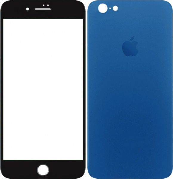TOTO 2,5D Full cover Tempered Glass front and back for iPhone 6/6S Plus Blue