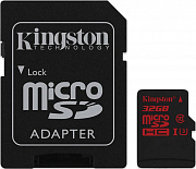 Карта памяти Kingston microSDHC/SDXC UHS-I U3 90R/80W SD adapter 32Gb - Фото №1