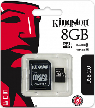 Карта памяти Kingston microSDHC/microSDXC class 10 UHS-I SD adapter 8Gb - Фото №2