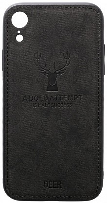 Чехол-накладка TOTO Deer Shell With Leather Effect Case Apple iPhone XR Black