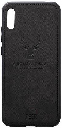 Чехол-накладка TOTO Deer Shell With Leather Effect Case Huawei Y6 2019 Black