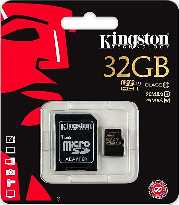 Карта памяти Kingston microSDHC/SDXC 32Gb Class 10 UHS-I + SD adapter - Фото №3