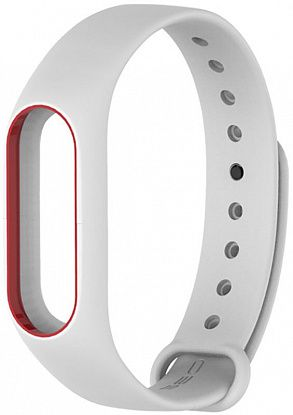 Ремешок UWatch Double Color Replacement Silicone Band For Xiaomi Mi Band 2 White/Red Line фото
