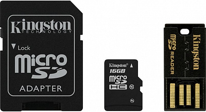 Карта памяти Kingston microSDHC/microSDXC Class 10 UHS-I SD adapter/USB reader 16Gb - Фото №1