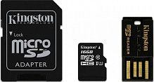 Kingston microSDHC 16Gb class 4 +SD adapter + USB reader