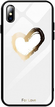 Чехол-накладка TOTO Glass Fashionable Case Apple iPhone XS Max Heart on White