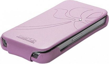 Чехол-флип Spigen Leather Case Valencia Swarovski Series Pink для iPhone 4/4S - Фото №3