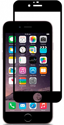 Защитное стекло Vmax 2.5D Soft silicon frame Premium Tempered glass для Iphone 6/6s Black