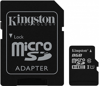 Карта памяти Kingston microSDHC/microSDXC class 10 UHS-I SD adapter 8Gb - Фото №1