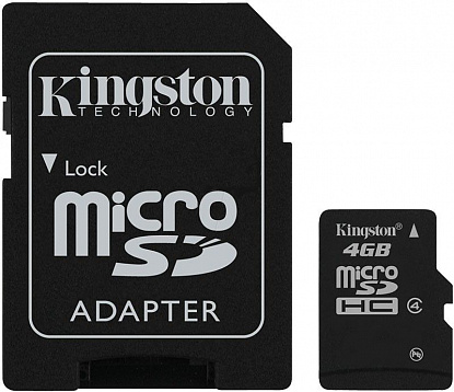 Карта памяти Kingston microSDHC 4Gb class 4 + SD adapter - Фото №1