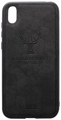 Чехол-накладка TOTO Deer Shell With Leather Effect Case Huawei Y5 2019 Black