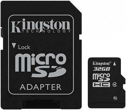 Карта памяти Kingston microSDHC class 4 SD adapter 32Gb - Фото №1
