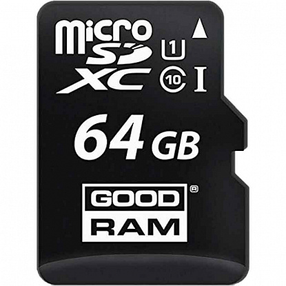 Карта памяти Goodram microSDHC class 10 UHS-1 SD adapter OTG Card reader 64Gb - Фото №1