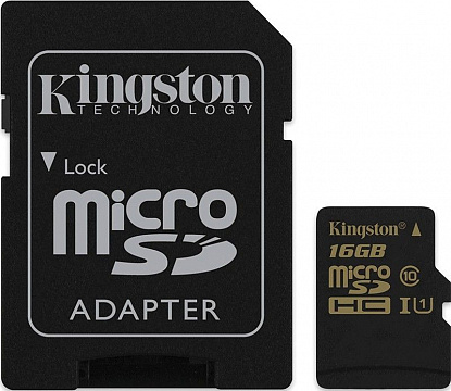 Карта памяти Kingston microSDHC/SDXC Class 10 UHS-I SD adapter 16Gb