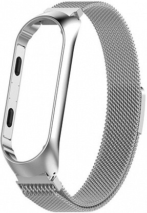 Ремешок UWatch Milanese Magnetic Strap For Mi Band 3/4 Silver